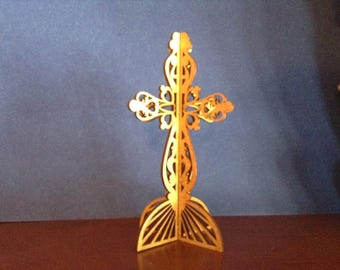 3D Standing Heart Cross - Golden Oak