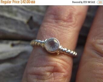 ON SALE Rose quartz ring in sterling silver