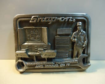 Snap On Tools Belt Buckle with Tool Man Tool Box Art
