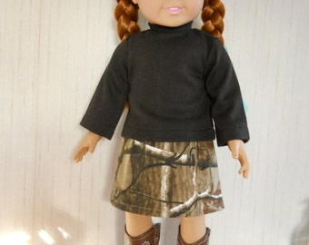 """18"""" Doll Camo Skirt and Long Sleeve Black T-Shirt Realtree@ for American Girl Type Dolls"""