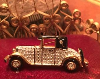 Vintage swarovski antique car brooch pin retired costume signed jewlery