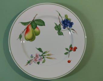 "Vtg 12"" China Chop Plate Round Platter Harvest Delight Pattern by Savoir Vivre Large Server White w/ Fruit & Flower Design Replacement Dish"