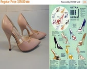 ANNIVERSARY SALE I'm On Top of the World - Vintage 1950s Shell Pink Leather Skyscraper Stilettos Heels - 4B