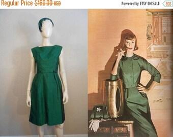 HOLIDAY 30% OFF Calling Park Avenue 6845 - Vintage 1960s Green Silk Shantung Sheath Wiggle Dress w/Inverted Back Skirt - 4/6
