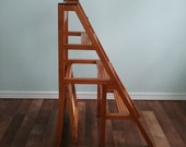 RESERVED Chair step ladder convertible chair kitchen step stool Library ladder chair , cane see, blonde wood natural wood