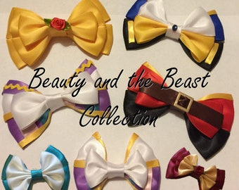 Beauty and the Beast Hair Bow collection, inspired by Disney animation - Belle, Beast, Gaston, Mrs Potts and Chip
