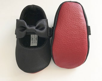 Red Bottom Baby Girl Shoes Toddler Girl Shoes Red Soft Soled Shoes Wedding Shoes Satin Shoes Flower Girl Shoes Loub Inspired - Audrey