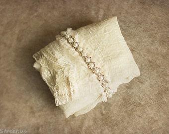 Lace Wrap and Newborn Headband Set, Baby Wrap, Cream Headband, Cream Wrap, Baby Props, newborn Props, RTS, Vintage, Cotton Wrap