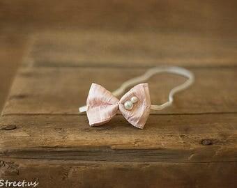 Baby  Pink Headband, Newborn Pearl Bow, Baby Tieback, Silk Vintage Headband, Baby Props, RTS Headband, Newborn Props, RTS,