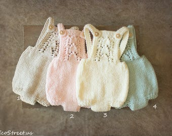 Baby Romper, Aqua, Off White, Pink Overalls, Natural Romper, Tan, Newborn Props, Baby Props, Baby Pants, Knit Romper, Shorts, RTS
