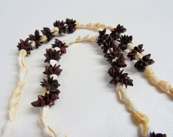 Festival Necklace. Vintage. Hawaiian. Seashell Lei. Seashell Necklace. Shell Necklace. Tiny Shells. Koa Seed. Brown Seed. Necklace.