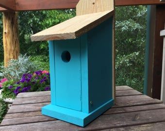 Bluebird Birdhouse Solid Wood Blue