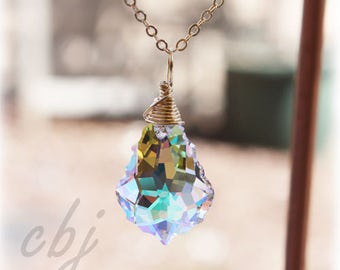 Crystal Necklace, Clear Crystal Charm, Crystal Charm, Crystal Pendant Necklace, Gold filled Chain, Custom made Crystal Jewelry