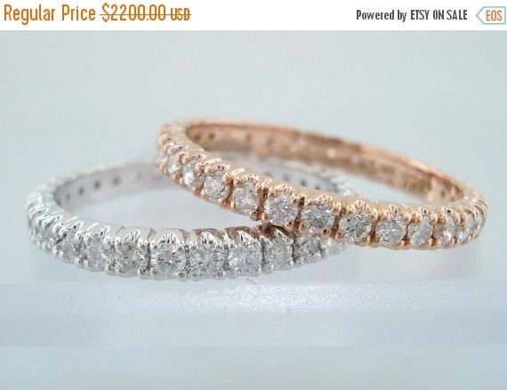 ON SALE Diamond Wedding Rings, Eternity Wedding Bands, Stackable 1.40 Carat 14k Rose & White Gold handmade