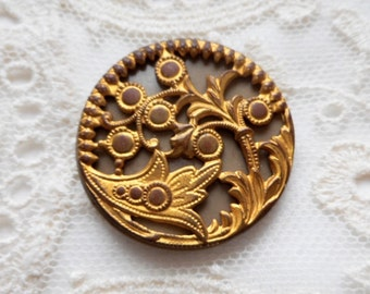 Antique Floral Brass Gilt Button, Celluloid,  Ornate, Unique and Rare, metal loop shank, circa 1930's, Antique, Jewelry, Button Jewelry
