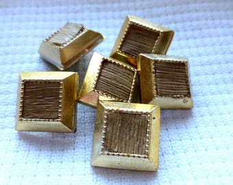 Vintage Gold Square Buttons, Plastic Buttons with shanks, 14mm, 1970's, Craft Buttons, Square Buttons, Button Jewelry, 6 in lot