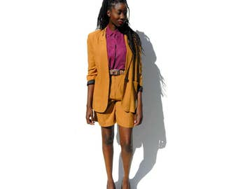 BLAZER ONLY!!!!!!!! Tan and dark brown fitted blazer 1990s 90s VINTAGE