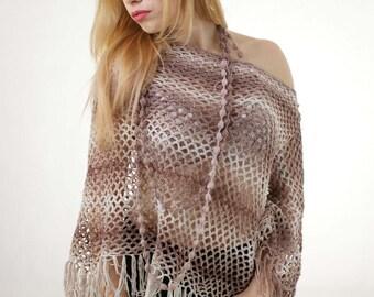 Beige Poncho Plus size Sweater Multicolor Oversize Sweater Full Figure Sweater Curvy sweater Cardigan Tunic