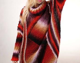 Plus Size Sweater Multicolor Oversize Sweater Full Figure Sweater Curvy Plus Size Sweater Cardigan