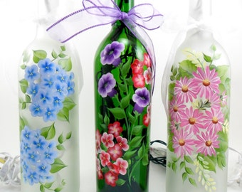 Lighted Wine Bottle Flowers Hand Painted 750 ml MADE TO ORDER (ships in 3-5 days)