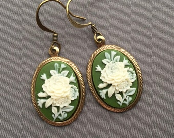 Cameo Earrings - Victorian Earrings - Cameo Jewelry - Victorian Jewelry - Green Flower Earrings - Green Earrings - Romantic Jewelry