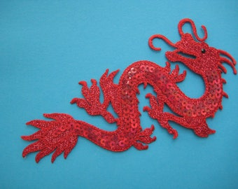 Iron-on Sequins Patch Traditional Chinese Dragon 6 inch