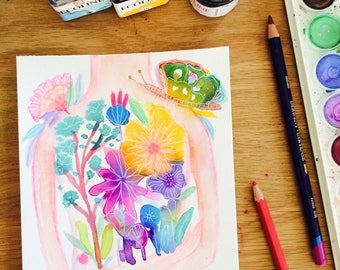 """Watercolor flowers - floral Watercolor painting, wall art, colorful painting, 8x5"""", nature watercolor, flower bouquet, butterfly"""