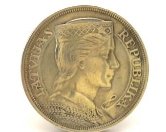 Antique Latvia Coin 5 Lats Silver 835 1931 Year Original VF Condition