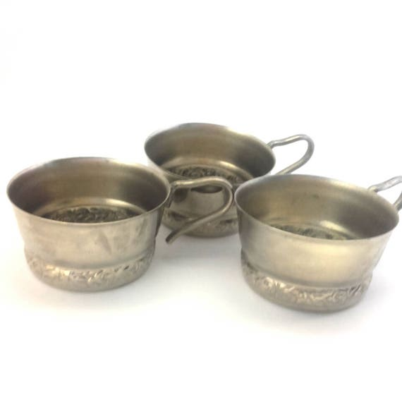 Vintage Russian German Silver Cup Holder Set 3 Pcs