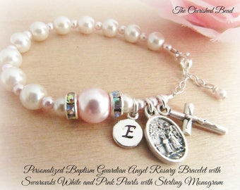 Personalized Baptism Guardian Angel Rosary Bracelet with Swarovski White and Light Pink Pearls, Rhinestones and Sterling Monogram