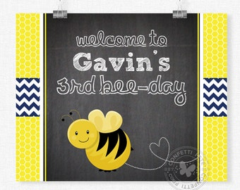 Bumble Bee Welcome Sign, Bee Birthday Sign, Bee Birthday Decorations, Buzz On In Door Sign, Printable 8x10 Sign
