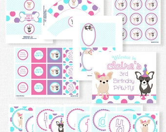 Puppy Party Printables, Chihuahua Birthday, Dog Birthday Decorations, Printable Party Package, Puppy Theme