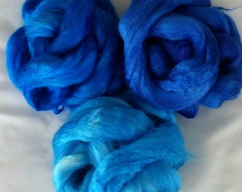 """Hand Dyed Tussah Silk """"Shades of Blue""""  1.5 Oz."""