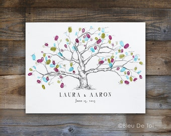 Fingerprint tree, Wedding Guest Book Alternative Small Low Oak Tree, Wedding Guest Book, thumbprint tree, Rustic Wedding, Original Design