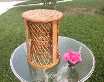 RATTAN CANE DRUM Vintage Rattan Cane Drum Table / Bamboo Side Table / Fretwork Side Table Drum / 16 Inches tall at Retro Daisy Girl
