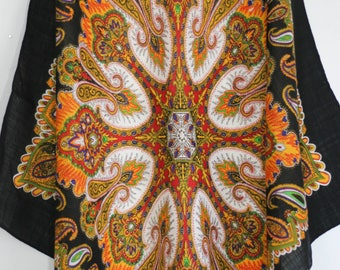 Handkerchief Scarf Paisley Psychedelic Black and Gold