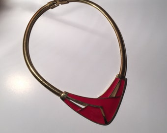 Trifari Gold Tone Red Choker Snake Chain 1980s