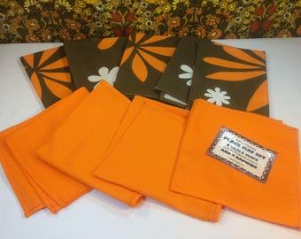 Vintage Retro 70s Place Mats & Napkins Irish Linen Set 4 Orange Flower Campervan