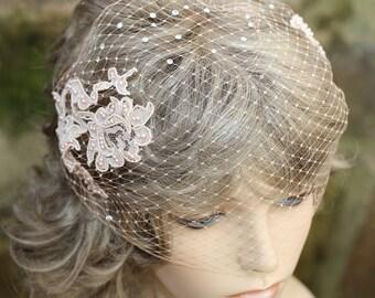 Blush Peach Lace Birdcage Veil Bridal Beige Bandeau Veil Pearls Rhinestones