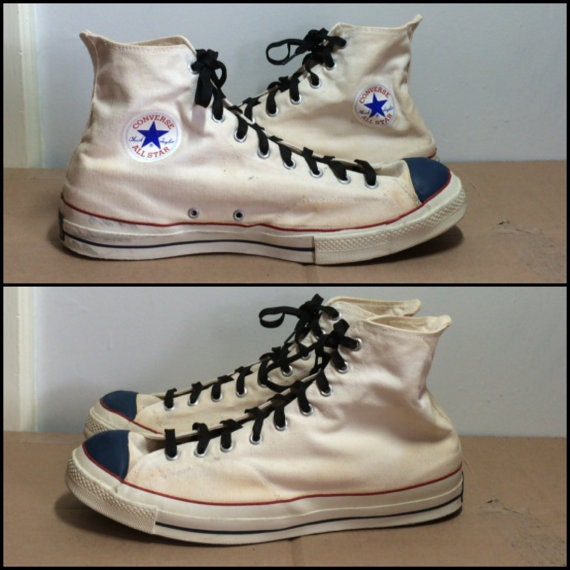 1960s Chuck Taylors white canvas with blue rubber toe size 16 made in USA