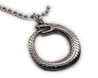 OUROBOROS Serpent Snake Eating Own Tail Introspection Renewal Charm Pendant Necklace with Ball Chain