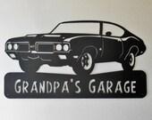 1970 Oldsmobile 442 Personalized  Man Cave Metal Sign Garage Art Satin Black