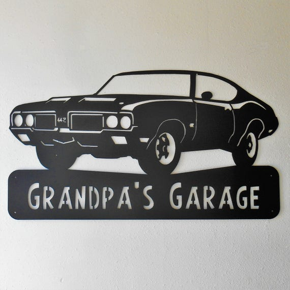 1970 Oldsmobile 442 Personalized  Man Cave Metal Sign Garage Art Satin Black