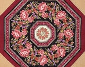 Quilted Octagon Floral Table topper Centerpiece roses red black cream lavender pink