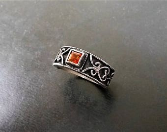 Fancy Scrolled Sterling Silver Citrine Topaz Deco style ring