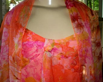 Beautiful Tropical Summer Dress VINTAGE Newport News With Scarf