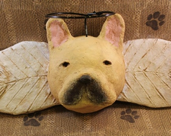 French Bulldog Angel, OOAK, hand-sculpted from papier mache, Frenchie Angel, Bulldog Art