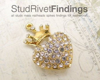 1pc Heart with Crown with clear Rhinestones decorate Charms Pendant