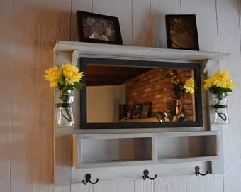Large Entryway Mirror with top shelf, hooks, mail organizer and vases