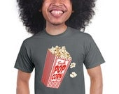 popcorn t-shirt, for movie fans, geeky mens tee, funny graphic tee, popcorn lovers, snack food, movie popcorn, food gift, quirky gift, s-4x